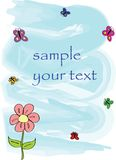 Children's drawing with a flower. And butterflies Royalty Free Stock Photography