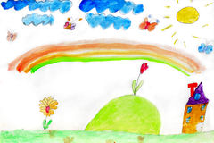 Children's drawing of flowers and rainbow Royalty Free Stock Photos