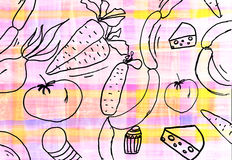 Children's drawing of food background Royalty Free Stock Photos