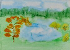 Children`s drawing `Forest Lake in Autumn`. Wet watercolor on paper. Naive Art. Abstract art. Painting wet watercolor on paper. Children`s creativity stock illustration