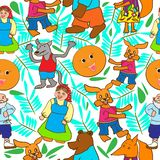 Children`s drawing in the form of a pattern from the fairy tale Kolobok vector illustration