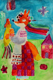 Children's drawing with fox in Ukrainian clothes Stock Photos
