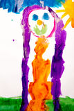 Children's drawing of the girl. On the sun drawn with a water color on white paper a brush stock illustration