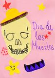 Children`s drawing: greeting card with skull in hat, hand drawn lettering, stars on pink background. Dia de Los Muertos, Mexican. Day of the Dead concept royalty free stock images