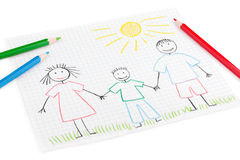 Children's drawing of happy family Stock Photo