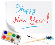 Children's drawing happy new year Royalty Free Stock Photos
