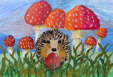Children's drawing Hedgehog with apple Royalty Free Stock Image