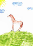 Children's drawing of a horse Stock Images