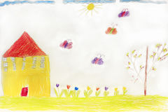 Children's drawing with house butterflies and flowers. Multicolored children's drawing with house butterflies and flowers stock photography