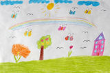 Children's drawing of house, flowers and rainbow Royalty Free Stock Image