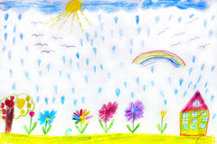 Children's drawing of house flowers and rainbow Stock Photography