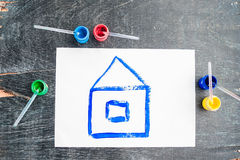 Children`s drawing of a house painted with colored paints. Home concept.  vector illustration