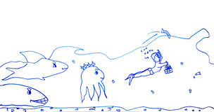 Children's drawing of marine life Stock Images