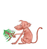 Children's drawing . The monkey - the symbol of the year. Royalty Free Stock Photography
