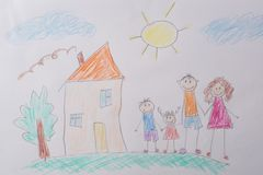 Children`s drawing My Happy Family . The concept of child psychology. royalty free stock photography