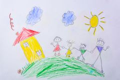 Children`s drawing My Happy Family . The concept of child psychology. Children`s drawing My Happy Family . The concept of child psychology stock photo