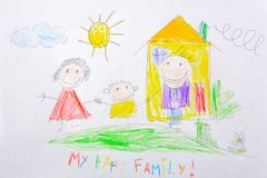 Children`s drawing My Happy Family . The concept of child psychology. Children`s drawing My Happy Family . The concept of child psychology stock image