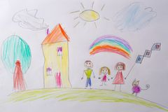 Children`s drawing My Happy Family . The concept of child psychology. Psychological testing of the child using the royalty free stock photos