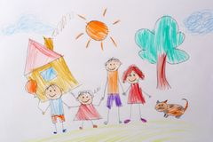 Children`s drawing My Happy Family . The concept of child psychology. Psychological testing of the child using the royalty free stock photography