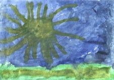 Children's drawing - octopus in the ocean. Children's drawing - octopus swimming in the ocean Stock Photos
