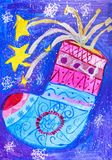 Children`s drawing. painted boots and fireworks. On a blue background Royalty Free Stock Image