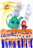 Children's drawing paints. Smiling sun,table,tea. Stock Photos