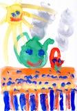 Children's drawing paints. Smiling sun,table,tea. Stock Photos