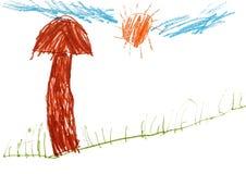 Children`s drawing pencil, big mushroom Stock Photo
