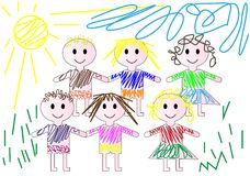 Children`s drawing in pencil, children in the clearing Royalty Free Stock Photo