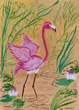 Children`s drawing `Pink flamingo`. Gouache on paper. Naive Art. Abstract art. Oil painting on canvas. Spots of paint. Modern art. Children`s creativity stock illustration