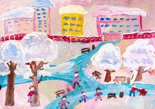 Children`s drawing. Children playing in winter city Royalty Free Stock Images