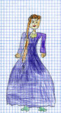 Children's drawing of Princess Stock Photography