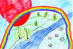 Children's drawing of a rainbow Stock Image