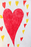 Children's drawing with red and yellow hearts vector illustration