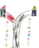 Children's drawing the road and houses Royalty Free Stock Photo