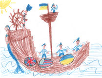 Children's drawing a sailors who sail on the ship under the Ukrainian flag Royalty Free Stock Image