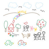 Children's drawing - seamless pattern. On the white background Stock Photo