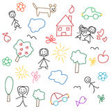 Children's drawing - seamless pattern. On the white background Stock Photos