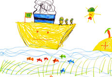 Children's drawing. ship and sea. Children's drawing. ship, fish and sea Royalty Free Stock Photos