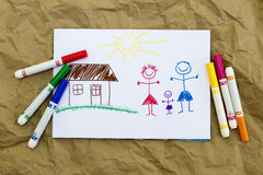 Children's drawing. Small child painted his family on paper Vector Illustration