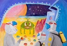 Children`s drawing `Smile from a distant planet`. Children`s drawing gouache `Smile from a distant planet Stock Images
