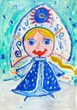 Children`s drawing. Snow Maiden with  long braid in the headdres Stock Image