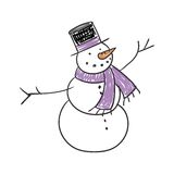 Children's Drawing of a Snowman Stock Photos