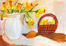 Children`s drawing. Still life with daffodils and fruit basket Stock Images