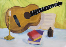 Children's drawing Still Life with Guitar Royalty Free Stock Images