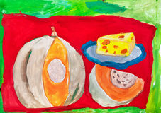 Children`s drawing. Still life with  pumpkin and plate of cheese. Children`s drawing. Still life with cut ripe pumpkin and blue cheese plate Stock Image