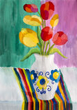 Children's drawing Still life with tulips. Children's drawing gouache Still life with tulips Royalty Free Stock Photography