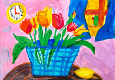 Children`s drawing. Still life with tulips and round clock. Children`s drawing. Still life with basket of tulips, round clock and lemon Royalty Free Stock Photography