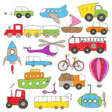 Children`s drawing style toy vechicles Royalty Free Stock Photo