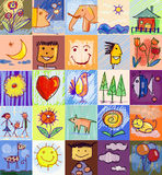 Children's Drawing Styles. human family. Collection of cute drawings of kids, Children's Drawing Styles. Seamless and multicolored symbols set with  human family Royalty Free Stock Image